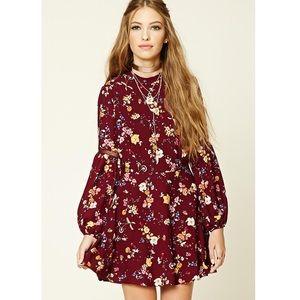 Forever21 Floral Print Mock Neck Dress